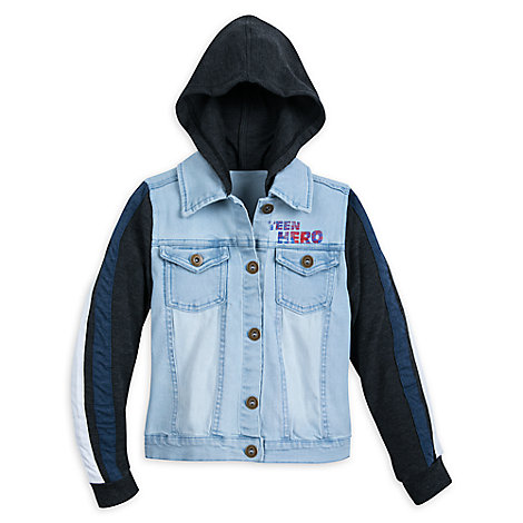 America Chavez Hooded Denim Jacket Top for Girls - Marvel Rising