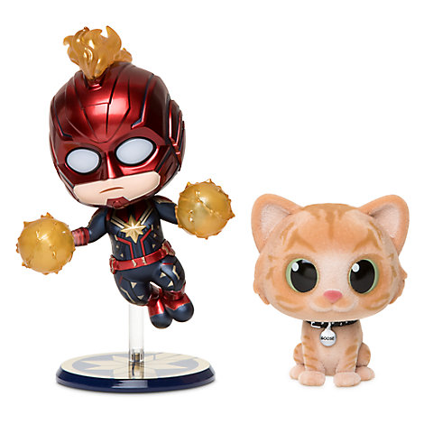 Captain Marvel and Goose Cosbaby Bobble-Head Figure Set by Hot Toys - Limited Release