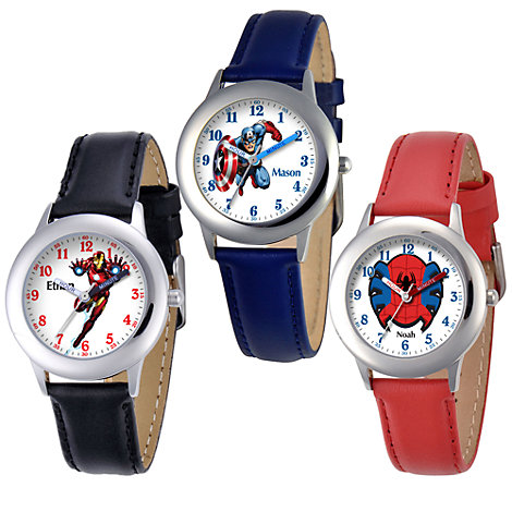 Marvel Time Teacher Watch with Leather Strap for Kids - Create Your Own