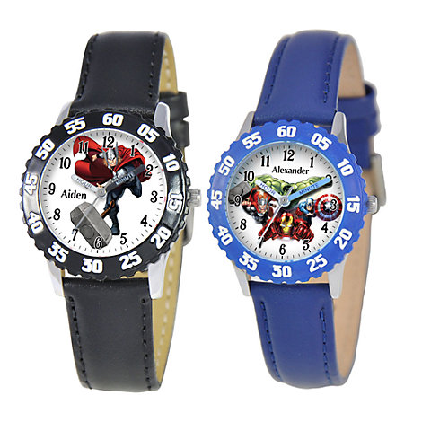 Marvel Time Teacher Watch with Leather Strap and Bezel for Kids - Create Your Own