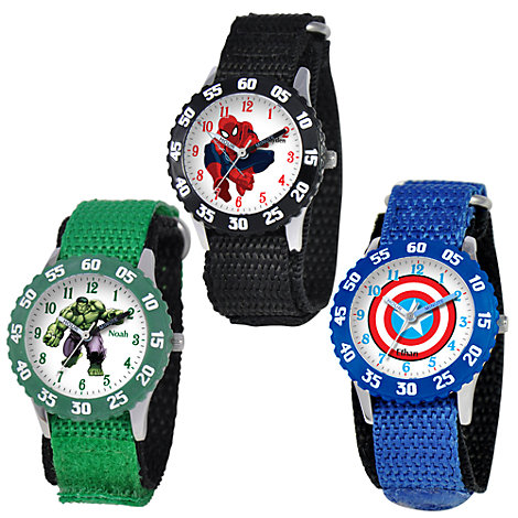 Marvel Time Teacher Watch with Nylon Strap and Bezel for Kids - Create Your Own